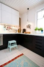 So this kitchen is essentially the set up that I want our kitchen to turn into...  Pretend the window is the fireplace and put the sink back where it was!  SO much more functional!  Also love the long table in front of the window.  That would be a perfect fix for added counter space under that long window we have-it wouldn't have to cover the vents then.