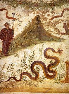 Fresco with Mount Vesuvius behind Bacchus and Agathodaimon, as seen in Pompeii's House of the Centenary (Casa del Centenario)