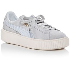 Puma Women's Core Lace Up Platform Sneakers (€95) ❤ liked on Polyvore featuring shoes, sneakers, blue, rubber sole shoes, suede lace up shoes, puma shoes, platform lace up shoes and blue suede sneakers