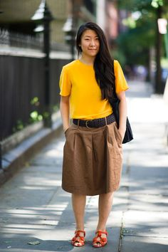 Who:Grace Kim    What: fashion design student at Parsons the New School for Design    Wear: vintage top, Zara skirt, Topshop shoes, Muji bag