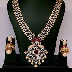 Bridal CZ Peacock Mango Neckless | Buy Online Jewellery | Elegant Fashion Wear