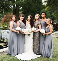 Love how Sarah's maid of honor stands out in her gray #SorellaVita sequin dress and looked perfect with the chiffon dresses! Shop the MOH dress via the link in our profile. #BridesideRealWedding #Brideside #Gray #MixandMatch #ModernMetallics #MOH #MaidofHonor [photo by #AliciaSchneiderPhotography]