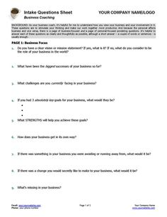 Free coaching tools and resources in 2018 coaching impact business coaching intake questions sheet accmission Gallery