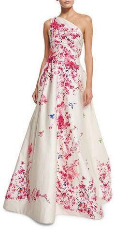 Monique Lhuillier Cherry Blossom One-Shoulder Ball Gown, Cream Multi White  A Line 15b4ab3b56e