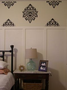 paneled wall and wallpaper