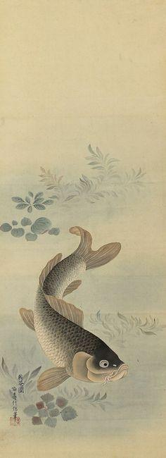 Antique Japanese Art Painting Koi Fish Carp Hanging Scroll - 131001 on Etsy, $580.00