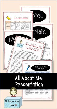 Oral Presentation - All About Me Graphic Organizers and Presentation Rubric 3rd Grade Reading, Third Grade Math, Grade 3, Fourth Grade, 4th Grade Math Worksheets, Language Arts Worksheets, All About Me Activities, Back To School Activities, Presentation Rubric