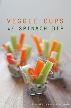 Veggie Cups with Spinach Dip
