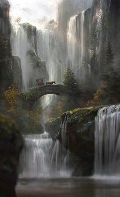 Waterfall by JordiGart.deviantart.com on @DeviantArt