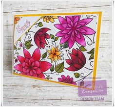 5 x 7 card using Spectrum Noir Colorista Alcohol pens and Exquisite Florals pad. Designed by Suzi McManus Spectrum Noir Pencils, Spectrum Noir Markers, Blender Pen, Colorista, Colouring Techniques, Crafters Companion, Flower Cards, Adult Coloring, Colored Pencils