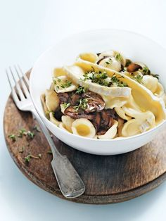 mushroom, brie and thyme pasta from donna hay