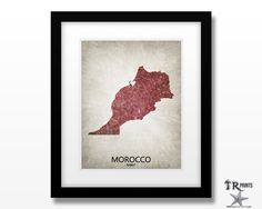 Morocco Map Art Print - Home Is Where The Heart Is Love Map - Original Custom Map Art Print Available in Multiple Size and Color Options by TRPrints on Etsy