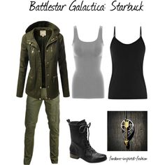 """""""Battlestar Gallactica Starbuck Inspired Outfit"""" by fandom-inspired-fashion on Polyvore. Military-style pieces which match Starbuck's uniform. Double tank top, cargo pants and army boots are almost identical to the show. Military style jacket is similar to the one she wore planet-side. Necklace was made to represent her tattoo."""