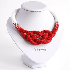 Bead crochet necklace with Josephine knot by GorannaBeads on Etsy