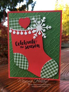Megumi's Stampin Retreat, Stampin' Up! 2017 Holiday Catalog, Stampin' Up! Trim Your Stocking Thinlits Dies, Stampin' Up! Tags & Trimmings Stamp Set, Stampin' Up! Quilt Top Embossing Folder, Stampin' Up! Quilted Christmas DSP