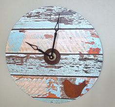 Rustic Wall Clock Bird Clock 12 Inch Large Wall by makingtimetc, $42.00