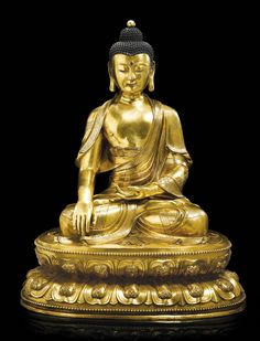 GILT-BRONZE FIGURE OF SHAKYAMUNI BUDDHA MING DYNASTY, 15TH / 16TH CENTURY