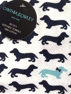 NWT CYNTHIA ROWLEY 2 PC SET KITCHEN DISH TOWELS Dachshund Dogs On White NEW  #CynthiaRowley