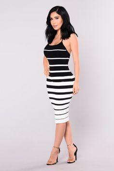 Enzo Knit Dress - Black/White