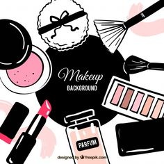 Hand drawn background with cosmetics Free Vector Makeup Backgrounds, Makeup Wallpapers, Make Up Cosmetics, Makeup Illustration, Makeup Artist Logo, Doodle Art Journals, Cosmetic Sets, Fashion Wall Art, Makeup Photography