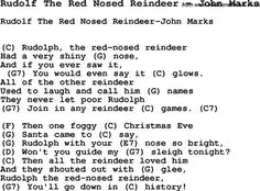 Song Rudolf The Red Nosed Reindeer by John Marks, with lyrics for vocal performance and accompaniment chords for Ukulele, Guitar Banjo etc. Ukulele Chords Songs, Easy Guitar Songs, Lyrics And Chords, Music Guitar, Christmas Ukulele Songs, Xmas Songs, Xmas Music, Christmas Music, Music Lessons