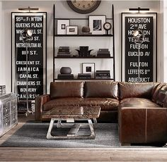 The Chicago interior design guide to the sophisticated 'man cave'_maxwell sofa Man Cave Office, Interior Design Guide, Vintage Industrial Decor, Ikea Industrial, Industrial Living, Industrial Furniture, D House, Man Cave Home Bar, Man Room
