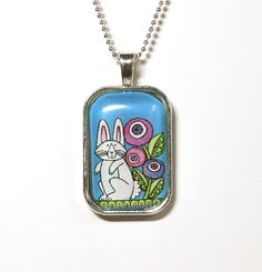 Garden Bunny Rabbit Glass Pendant   by SusanFayePetProjects on Etsy, $20.00