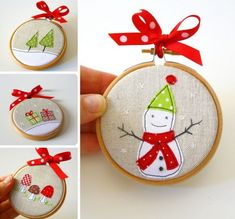 Wouldn't you love to receive a wonderful homemade Christmas gift? Have a look at these homemade Christmas gift ideas for an inspiration and make everybody's Christmas Makes, Noel Christmas, Winter Christmas, Christmas Canvas, Christmas Scenes, Unique Christmas Ornaments, Handmade Christmas Decorations, Tree Decorations, Handmade Ornaments