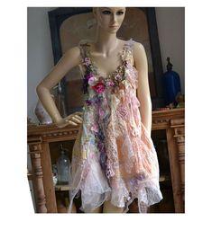 Unique Feminine Dress SWEET PEAS and ANEMONES Fairy by Paulina722