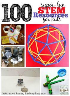 100 Super Fun STEM Resources for Kids via www.RaisingLifelongLearners.com