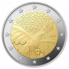 moneda conmemorativa 2 euros Francia 2015 Paz.