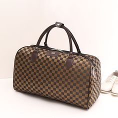 2017 New Fashion Nylon Coffee Plaid Women Luggage Travel Bags Large Bag For Women Famous Brand Female Duffle Traveling Bag
