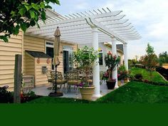 This attached pergola can be made in front of the house as well as on the outer side of the office. Most of the departments and firms like to make their offices beautiful and attractive, so they prefer stunning and beautiful style of attached pergola Pergola Screens, Pergola On The Roof, Pergola Carport, Building A Pergola, Pergola Curtains, Small Pergola, Pergola Attached To House, Pergola Swing, Pergola Patio