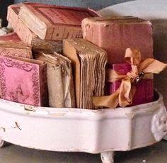 Small vintage books in ironstone via IG coreyamaro