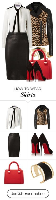 """leopard jacket and leather skirt"" by lilly517 on Polyvore featuring Tiffany & Co., Rachel Zoe, A.L.C., Victoria Beckham, Emanuel Ungaro, Narciso Rodriguez and Christian Louboutin"