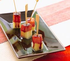 Chipotle/Cinnamon Pineapple Manchego Skewers by foodrepublic. Recipe from The Brazilian Kitchen: The presentation of these pineapple-manchego skewers goes far beyond the supermarket cheese platter. #Appetizers #Pineapple