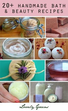 More than 20 tutorials on how to make handmade bath and beauty - includes recipes for handmade soap, lotions, bath bombs, eczema cream, cleanser, and more!  #beauty #skincare #diybeauty #handmade #cleanser #lotion #soap #soapmaking
