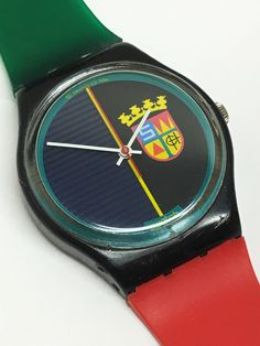 91cff9819c6 Swatch Watch Sir Swatch 1986 Vintage Red Green Jelly Band Black Coat Of  Arms Christmas Gift