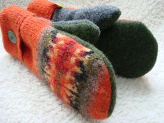 Fall Mittens ORANGE OLIVE Green Felted Sweater Wool by WormeWoole, $35.00