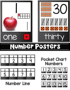 This set of Number posters that feature real life images has numbers 1-20 displayed with ten frame, tally marks and dice and images with a number. Posters 21-30 have number, number word, ten frame, tally marks and dice.