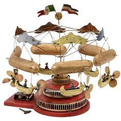 """Lot: Airship Carousel by """"Müller & Kadeder"""", 1909, Lot Number: 0663, Starting Bid: €4,000, Auctioneer: Auction Team Breker, Auction: 129th: Science & Technol., Fine Toys & Autom., Date: May 24th, 2014 EDT"""