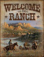 Welcome to the Ranch Cowboy and Longhorns tin sign : Horse Theme Gifts, When it has to have a horse on it Western Homes, Western Art, Rustic Homes, Western Decor, Rodeo, Cowboy Pictures, Cowboy Pics, Ranch Decor, Horse Ranch