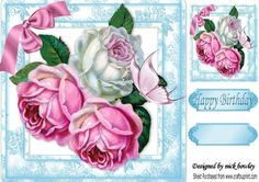 Pretty pink and white roses in ornate frame 8x8 on Craftsuprint - Add To Basket!