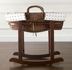 Restoration Hardware Moses Basket with Stand- i have the basket & stand but different bedding