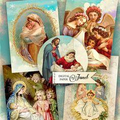 Nativity digital collage sheet set of 6 by bydigitalpaper, $4.55