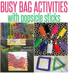 Keep your preschooler engaged this summer with these busy bag ideas that can be made in minutes out of popsicle sticks!