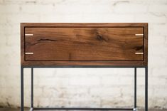 Myers End Table Black Walnut and Steel by KithandKinStore on Etsy