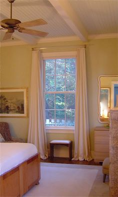 gorgeous bedroom - palette and window treatment