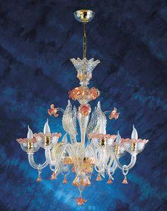 Lampadario in vetro di Murano in cristallo trasparente con decoro rosa/oro