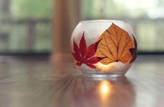 Wordless Wednesdays... Autumn leaves  candlelight  Visit the blog for the link to this beautiful candle project...
